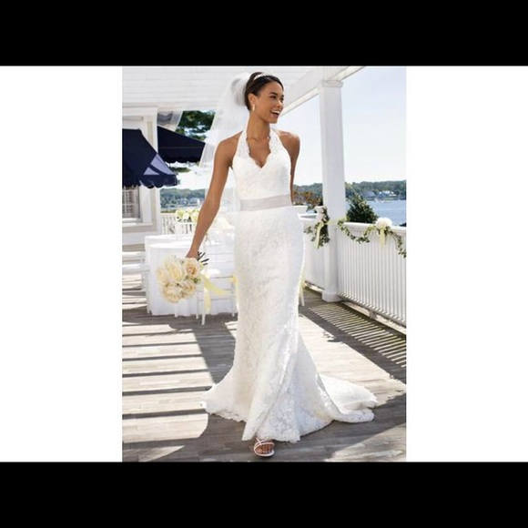 David\'s Bridal Dresses | New With Tags Beaded Lace Halter Wedding ...